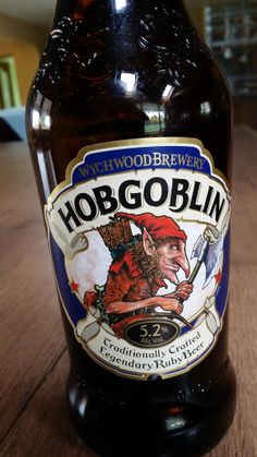 Hobgoblin, from the Wychwood Brewery in Oxfordshire, U.K. Brilliant labelling, different, 5.2 %