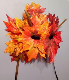 SALE Autumn Imp Green Man Leaf Mask Fall by CedarfoxStudios