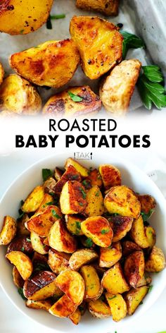 This easy Roasted Baby Potatoes recipe requires no peeling, no fancy ingredients, and than less than 10 minutes to prep. A simple blend of spices and an extra crispy exterior makes them extra delicious! This potato side dish is simple enough for a weeknight dinner, yet delicious enough for serving to company! Potluck Recipes, Side Dish Recipes, Vegan Gluten Free, Vegan Vegetarian, Baby Potato Recipes, Roasted Baby Potatoes, Barbecue Side Dishes, Potato Side Dishes