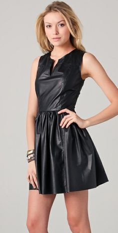 Thakoon Split Neck Leather Dress