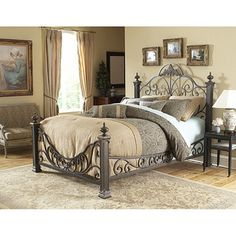 @Overstock - Create a fantasy bedroom with this king-size poster bed featuring an intricate design and four-inch posts topped with dramatic casted finials. The durable mattress support system ensures that youll have years of relishing in your romantic dreams.http://www.overstock.com/Home-Garden/Baroque-King-size-Bed/3915033/product.html?CID=214117 $848.99