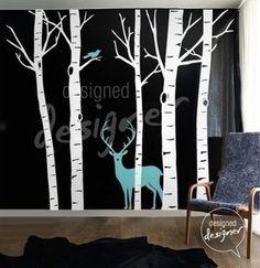Image of Vinyl wall sticker decal Art -Winter Birch Trees with Deer and Bird - dd1008