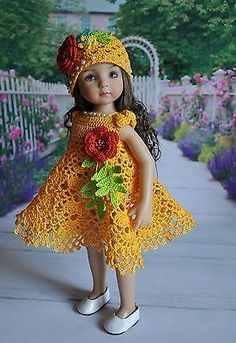 "OOAK Outfit for ""Little Darlings"" Effner dolls 13"" ~ Decorated w/  knitted flowers ~ Includes dress, hat & bracelet 