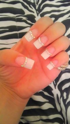 french tip with diamonds | rhinestones # manicure # nail art # nail designs