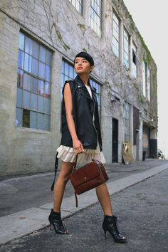 street style. leather vest. white dress. peep toe booties.
