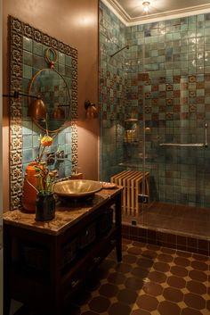 Tuscan decor – Mediterranean Home Decor Bathroom Design Small, Bathroom Interior Design, Home Room Design, House Design, Brick Wall Decor, Mediterranean Home Decor, Tuscan Decorating, Indian Home Decor, Decoration Design