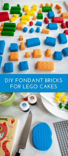 How to make fondant LEGO bricks for a LEGO birthday cake. Making fondant LEGO blocks is easy and fun, even for beginner cake decorators. #legobirthday #cakes #birthdaycake #legocake #legos #legobirthdayideas