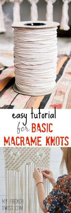 easy tutorial for basic macrame knots is part of Macrame - We're in the middle of an epidemic Macramania! Ropes, cord, knots and lots more crazy bondage designs are invading our nests I don't know about … More easy tutorial for basic macrame knots Macrame Art, Macrame Projects, Craft Projects, How To Macrame, Macrame Wall Hangings, Macrame Wall Hanging Diy, Craft Ideas, Sewing Projects, Project Ideas