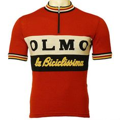 Founded in 1938 the famous Olmo Italian bicycle company was chosen by an Olmo-riding Soigneur customer for a custom-design. One of our many custom cycling jersey designs. Adidas Vintage, Women's Cycling Jersey, Cycling Jerseys, Bmx, Cycling Quotes, Cycling Art, Design Retro, Retro Bike, Vintage Cycles