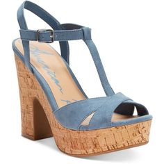 American Rag Jamie T-Strap Platform Dress Sandals, (£32) ❤ liked on Polyvore featuring shoes, sandals, soft blue cork, platform sandals, cork sandals, dress sandals shoes, cork platform sandals and dress sandals