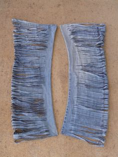 """My former favorite jeans after an encounter with my favorite scissors, turn into """"yarn"""""""