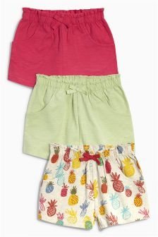 Kraťasy s ananasy a kraťasy v limetkové a korálové barvě, 3 ks (3 m -6 let)