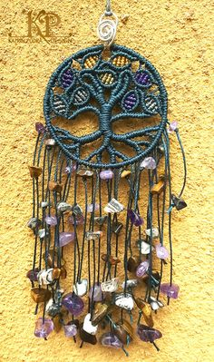 "Micro macrame charm ""Tree of life"", amulet for the home. Amethyst, tiger eye, and jasper stones."