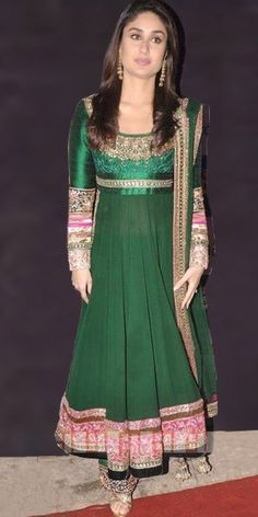 Kareena in Green Georgette Anarkali Suit
