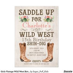 Girls Vintage Wild West Birthday Invitation This girl's Wild West birthday invitation features a pair of watercolor boots, a western style font and cactus/floral arrangements on an old aged paper background. The design also includes a decorative elements. I wanted to create some Wild West watercolor invitations for the store because I love this style. This girl's cowgirl birthday invitation is suitable for a wide range of ages including adults and can be used for a different occasion. This…