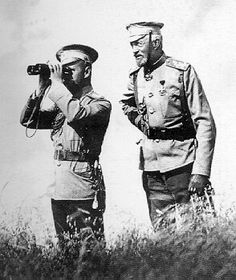 "Tsar Nicholas II of Russia with the Grand Duke Nikolai Nikolaevich Romanov of Russia (the Younger).   ""AL"""