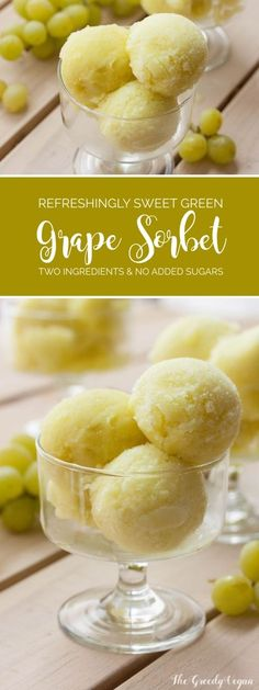 This green grape sorbet is made with fresh, slightly overripe grapes and contains no added sugars. It is best served on its own. Grape Sorbet Recipe, Vegan Ice Cream, Grape Ice Cream, Ice Cream Pops, Green Grape, Italian Ice, Frozen Desserts, Ice Cream Desserts, Ice Cream Recipes