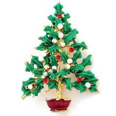 Green Christmas Tree Swarovski Crystal Pin Brooch - Fantasyard Costume Jewelry & Accessories