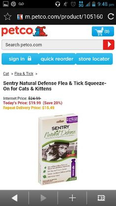 Sentry natural defence flea and tick squeeze on