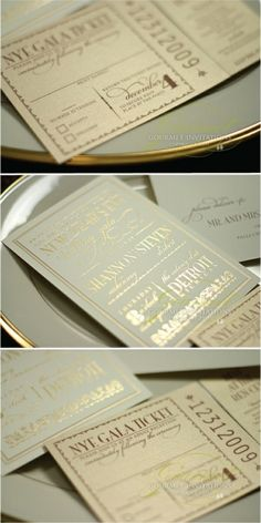 Mint and Gold wedding invites! They look like tickets. Adorable!