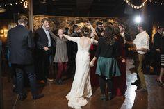 Downtown Nashville Winter Wedding | Crimson and Black Wedding | Wedding reception dancing