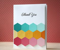 colorful handmade card ... three rows of die cut hexagons ... each row a different color set in ombre arrangement ... clean desighb with lots of color movemt ... luv it!!