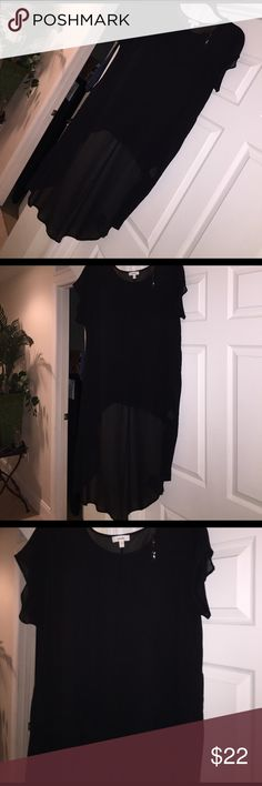 SEXY BLACK SEE-THRU TOP HIGH/LOW HEM, Very long in the back, lots of compliments, 100% polyester meraki Tops Tunics