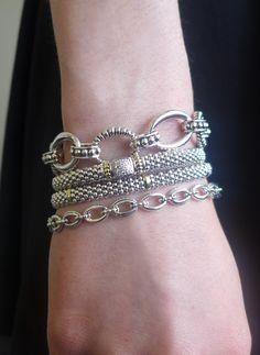 Stacked Lagos bracelets. To order Lagos call 800.642.GIFT
