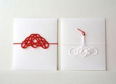 Envelope with pine n crane mizuhiki. mizuhiki: Japanese paper cord art