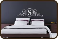 $42 full-size bed monogram vinyl headboard wall decal - for the bedroom