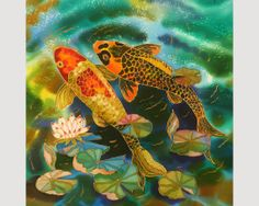 Art  Print Of Original Painting Pond and FISHES by SilkByLena, $45.00