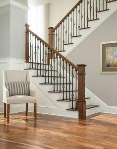 48 Ultimate Farmhouse Staircase Decor Ideas And Design Staircase Railing Design, Interior Stair Railing, Wrought Iron Stair Railing, House Staircase, Home Stairs Design, Stair Case Railing Ideas, Iron Balusters, Staircase Ideas, Iron Spindle Staircase