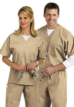 Cherokee Workwear unisex v-neck with chest pocket scrub top. Perfect for Alex Vause costume