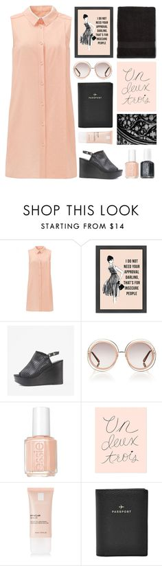 """TOP SET 26.08.2016 GRAY & PEACH"" by dianakhuzatyan ❤ liked on Polyvore featuring Seychelles, Chloé, Essie, Rifle Paper Co, La Roche-Posay, FOSSIL, colors, mylove and grayandpeach"
