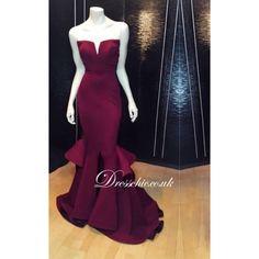 Designer Burgundy Satin Sweetheart Mermaid Evening Gown