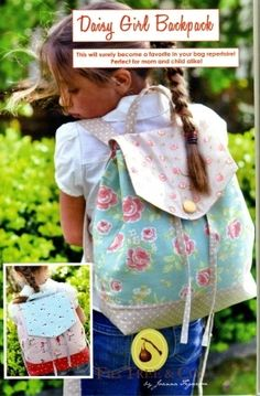 Super cute backpack pattern...and we could let the girls pick their own fabrics!