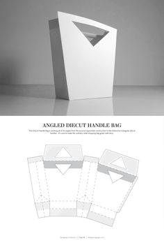 Angled Diecut Handle Bag – structural packaging design dielines