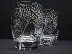 2 12 oz.Double Old Fashioned Glasses . Hand Engraved 'Branches & Leaves' . SpringBarware