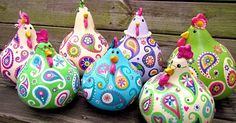 chickens gourd art paisley painted gourds lime by SuzysSitcomStoreTutorial for creating sweet little gossipy paisley chickens out of dried gourds.Want to boost your Etsy Sales? acrylics paints and sealerSuzy's Artsy Craftsy Sitcom – Crafts, Tutor Creative Mother's Day Gifts, Diy And Crafts, Arts And Crafts, Chicken Crafts, Painted Gourds, Gourd Art, Paper Mache, Paisley, Craft Projects