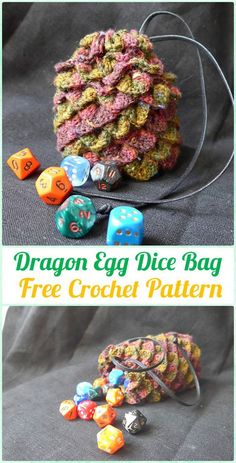 The Stitching Mommy: Crochet Dragon Egg Dice Bag Free Pattern