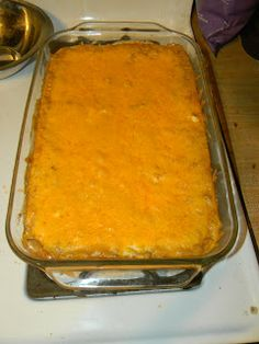 Refried Bean Dip with Cheddar Cheese, Sour Cream, Cream Cheese and Taco Seasoning. Can give it a little kick with some cayenne pepper if desired #Game Night Appetizer