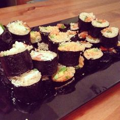 #homemade #brownrice and #salmon #sushi for #dinner