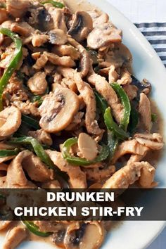 A Rum based marinade turns this Drunken Chicken Stir-Fry into a tender, juicy dish, best served over pasta - perfect quick and easy dinner recipe Easy Drink Recipes, Quick Dinner Recipes, Side Recipes, Cooking Recipes, Healthy Recipes, Delicious Recipes, Wok Recipes, Steak Recipes, Recipies