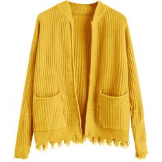 Ripped Hem Open Cardigan With Pockets Yellow ($30) ❤ liked on Polyvore featuring tops, cardigans, yellow top, yellow cardigan, distressed top, ripped top and open cardigan