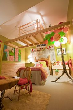 Enchanted Forest Girls Room designed by Beacon Interior Designers and Burlock Interiors! Whimsical room with a loft and gorgeous fur rug!