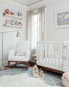 nurseries - Dwell Studio Gate Azure Cream Rug pale gray walls ceiling white shelves white modern crib white modern glider Sweet baby boy's nursery