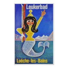 Ski bei Leukerbad, die Schweiz; Vintage Reise Poster