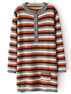Orange Long Sleeve Striped Pocket Sweater $MXN443.45