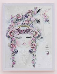 Fine art print One Sonny Day. Australian kids and children's art. Soft pink flower crown, lilac floral headdress, delicate antique lace embossing, pink purple butterflies, unicorn, unicorn art, magical, magical art. Perfect for wall art, little girls bedroom deco, children kids gifts, christening, baby shower, christmas present. Water colour, painting, quote
