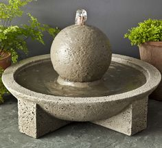 A simple yet dynamic accent to any outdoor area, the M-Series Sphere Garden Terrace Fountain brings the soothing sounds of water twirling around the sphere and into the basin below. Standing less than